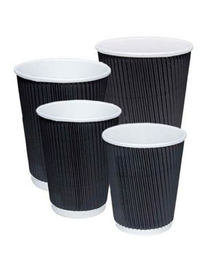 Unbranded Black Ripple Cups 500 x 12oz