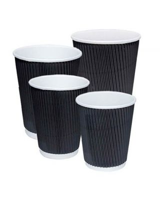 Unbranded Black Ripple Cups 500 x 16oz