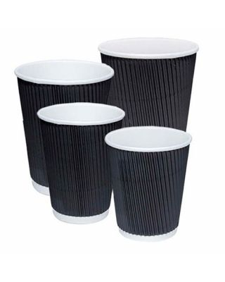 Unbranded Black Ripple Cups 500 x 8oz